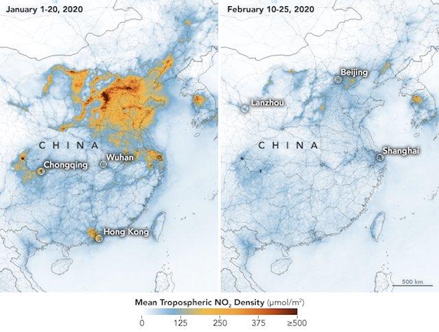 Carbon Emissions Over China NASA - 08 atualizações positivas sobre os surtos de COVID-19 de todo o mundo